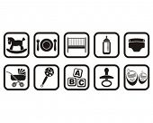 Baby caring objects set silhouette