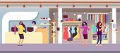 Fashion Store. Shopping Women In Boutique With Femele Clothes And Accessories. Clothing Shop Interio poster