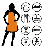 Housewife and housekeeping icons. Vector illustration.