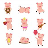 Kawaii Pigs. Funny Baby Pig In Mud, Piggy Eating And Running. Cartoon Swine Vector Character. Illust poster
