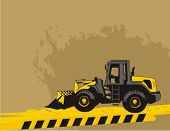 Wheel loader bulldozer on a grunge construction background.