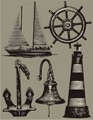 Nautical design elements: anchor, sailboat, lighthouse, steering wheel, bell.