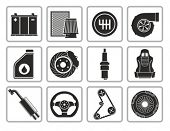 picture of accumulative  - Vector black car parts icons set - JPG