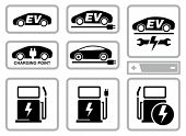 Electric vehicle charging station icons set. All white areas are cut away from icons and black areas