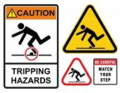 Tripping hazards, warning sign. Construction industry safety.