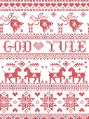 Christmas Pattern Merry Christmas In Norwegian God Yule Vector Seamless Pattern Inspired By Nordic C poster