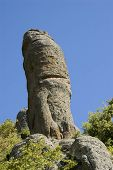 stock photo of phallus  - Rock like phallus symbol in Ghost Valley Crimea mountains - JPG