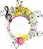 Swirling colored  melody frame, the place for your text and photo, each element has own layer