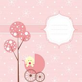 Baby girl banner,the place for your text. Background is seamless pattern