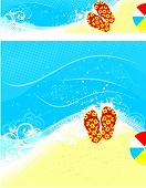 summer banners with beach and sea