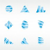 stylized ribbons in different shapes icons set
