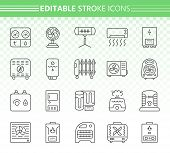 Hvac Thin Line Icons Set. Outline Web Sign Kit Of Climatic Equipment. Fan Linear Icon Collection Inc poster