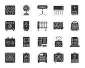 Hvac Silhouette Icons Set. Isolated Monochrome Web Sign Kit Of Climatic Equipment. Fan Pictogram Col poster