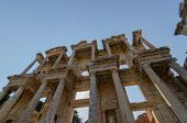 Ephesus (efes) Archeologİcal Sİte,turkey-august 19,2018:the Celsus Library.the Front Facade And Cour poster