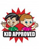 Kid Approved Icon. Version with Boy and Girl in Red Flash