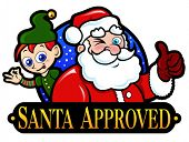 Santa Claus and Elf Approved Seal / Mark / Icon