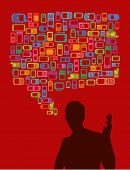 talking man in silhouette with cellphones and smartphones dialog bubble