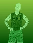 Silhouette of a man made with typography with the word BIO in vectors