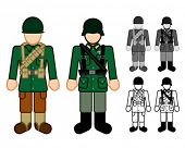 American and German WWII Soldier Character Figures
