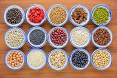 Various Kinds Of Beans And Grains,different Kinds Of Beans And Grians In Bowl On Wooden Table.health poster