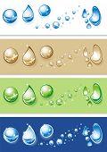 Conjunto de gotas de agua clara. Ilustración del vector.