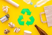 Recycling. Green Recycle Eco Symbol. Recycled Arrows Sign Near Matherials For Recycle And Reuse On Y poster