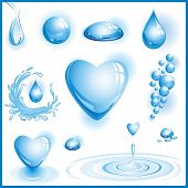 Set of water design elements. Vector illustration.