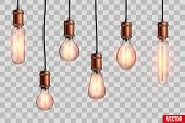 Decorative Retro Design Edison Light Bulb Set. Lamps Of Different Shapes. Vintage And Antique Style  poster