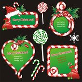 Christmas banners and design elements. Frames and sugar candies. (vector illustration)
