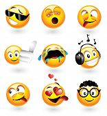 Set of nine smilies with different expressions - visit my portfolio to find more from this series
