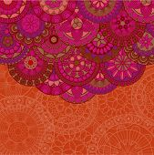 Background with floral pattern in ethnic style and copyspace