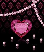 Jewelery background with heart-shaped diamond and pearls
