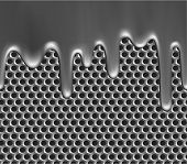 Seamless metallic liquid on grille texture