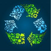 Big eco recycle icon made out of icons