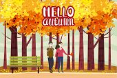 Hello Autumn Color Illustration. Happy Couple Walking In Park Postcard Design. Open Air Outdoor Walk poster