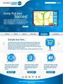 Modern blue business website template with gps