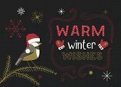 Christmas Holiday Decoration. Cute Cartoon Chickadee In Santa Red Hat. Fancy Festive Lettering Winte poster