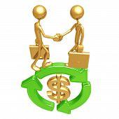Green Business Handshake Dollar