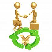 Green Business Handshake Yen