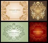 Set of Vintage Floral Frame, rich ornate, vector.
