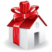 House as a gift for you. Vector image.