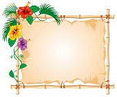 Bamboo Frame with worn Cloth Sign and tropic flowers