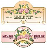 collection of vintage labels with a bouquet of roses
