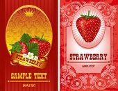 delicious strawberry label, vector illustration