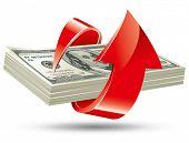 bundle of dollars with an arrow around it, vector editable