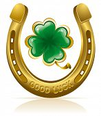 picture of horseshoe  - Horseshoe and four leaf clover  - JPG