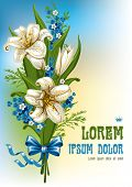 Wonderful spring bouquet with lilies and forget-me, vector illustration
