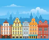 Street with houses in different architectural styles and colors. Detailed vector picture.