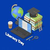 Literacy Day Book International Library Banner Concept. Isometric Illustration Of Literacy Day Book  poster