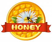 Bee and flower on honeycomb. Background for you design.